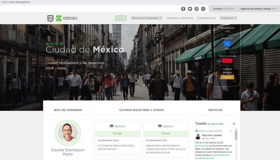 Sitio web del Gobierno de la CDMX