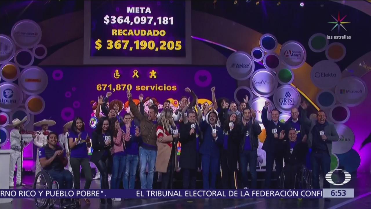 Teletón México 2018 rebasa la meta, por 21 años consecutivos
