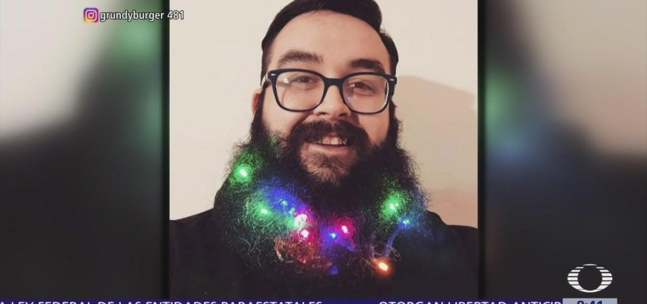 Tendencia navideña para hombres con barba