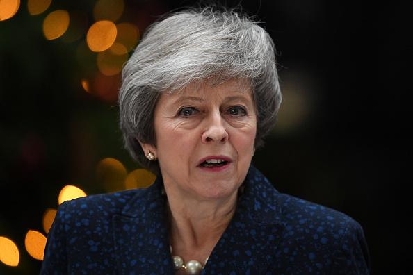 La primera ministra Theresa May ofrece una conferencia de prensa en Downing Street, Londre