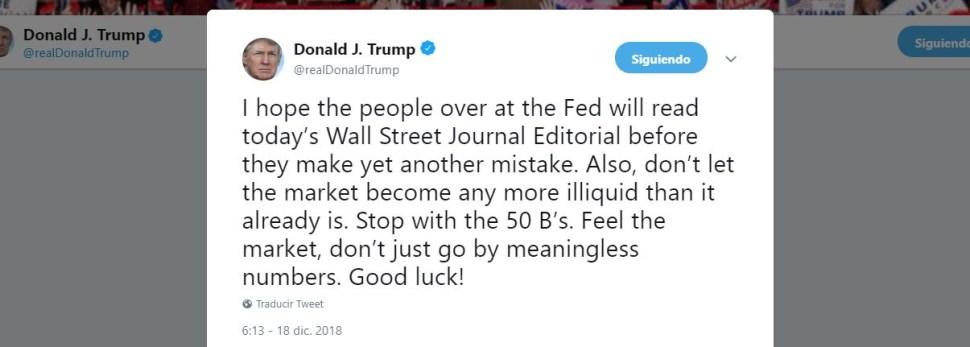 Trump advierte a la Fed que no cometa un nuevo error