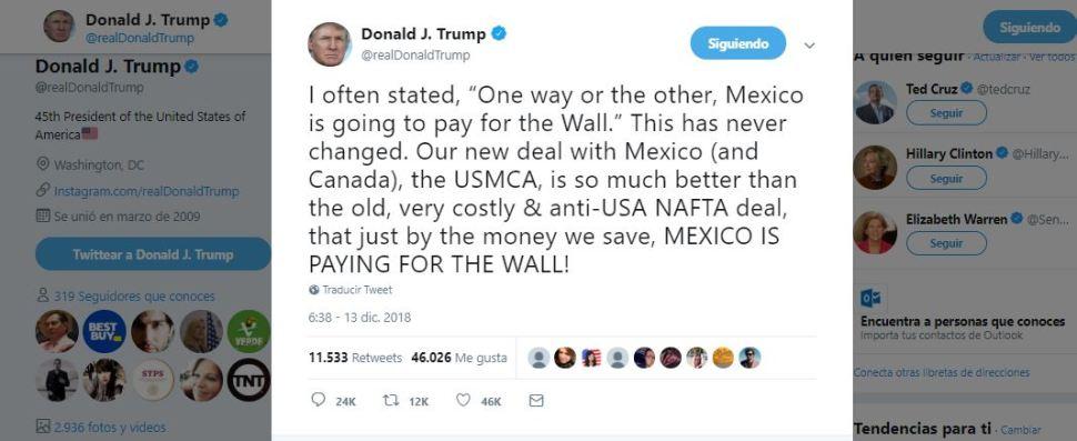 Trump afirma en Twitter que México pagará por el muro