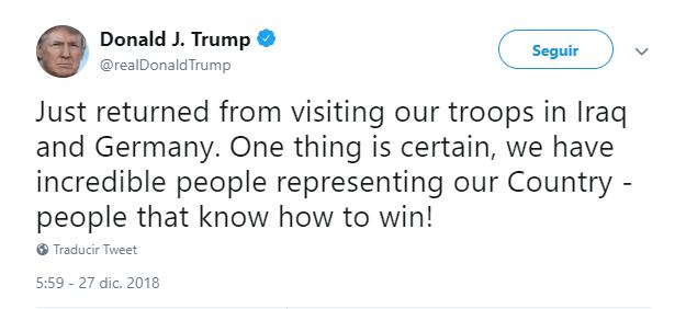 Trump escribe sobre su visita sorpresa a Irak. (@realDonaldTrump)