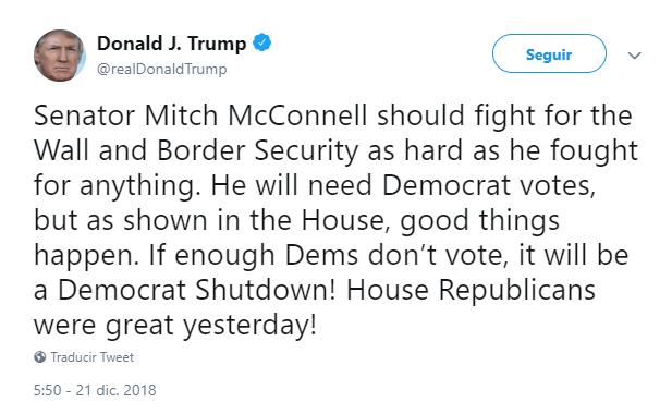Trump presiona al senador Mitch McConnell. (@realDonaldTrump)