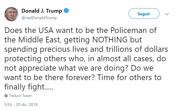 Trump tuitea sobre la participación de EU en Medio Oriente. (@realDonaldTrump)