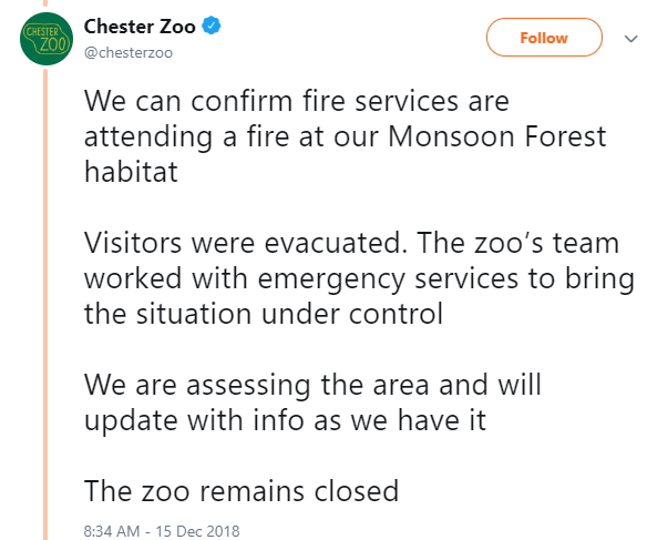 Incendio provoca cierre de zoológico de Chester, Reino Unido