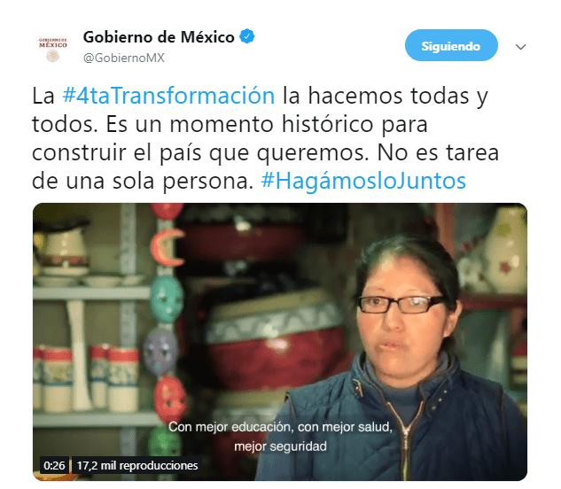 cuarta transformacion gobierno video twitter gobierno
