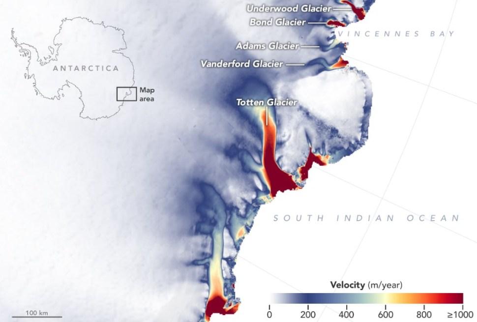 Un grupo de glaciares de Antártida Oriental se han reducido su altura en tres metros desde 2008 (NASA MEaSUREs ITS_LIVE)