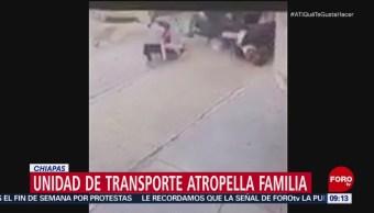 Unidad de transporte público atropella a familia en Tuxtla Gutiérrez