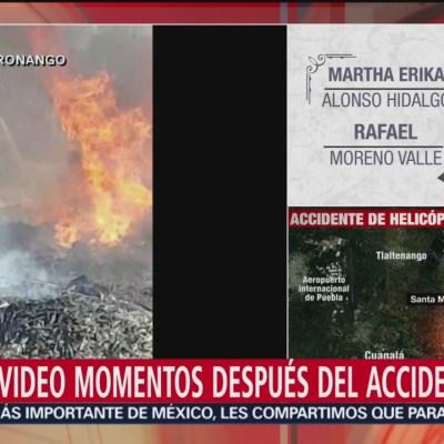 Video de momentos después del desplome del helicóptero de la gobernadora