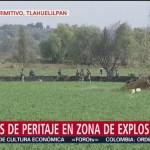 Permanecen labores de peritaje en zona de explosión en Hidalgo