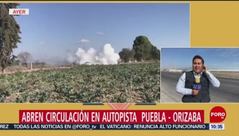 Abren circulación en autopista Puebla-Orizaba tras fuga de gas