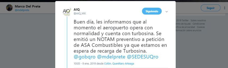 Aeropuerto de Querétaro trabaja con normalidad