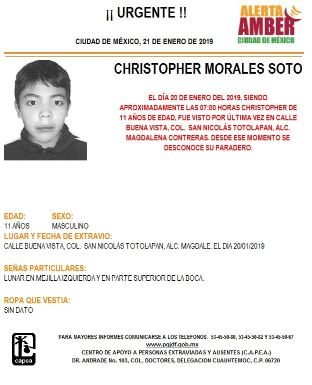 Alerta Amber para localizar a Christopher Morales