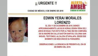 Alerta Amber para localizar a Edwin Yerai