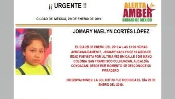 Foto: Alerta Amber para localizar a Jomary Naelyn 29 enero 2019