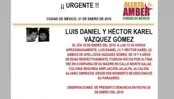 Alerta Amber para localizar a Luis Daniel y Héctor Kare