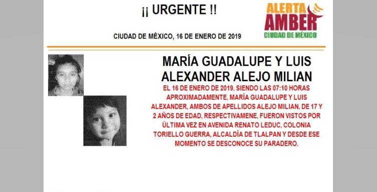 Alerta Amber para localizar a María Guadalupe y Luis Alexander