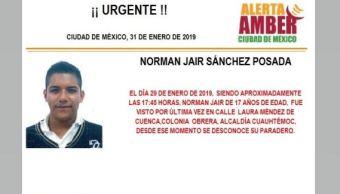 Foto: Alerta Amber para localizar a Norman Jair Sánchez Posada 31 enero 2019