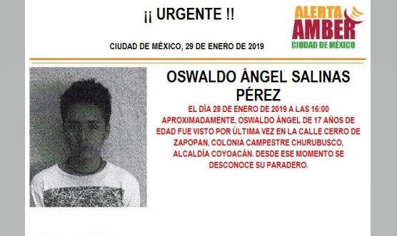 Foto: Alerta Amber para localizar a Oswaldo Ángel 29 enero 2019