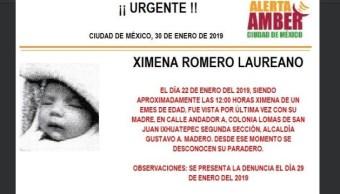 Foto: Alerta Amber para localizar a Ximena Romero Laureano 30 enero 2019