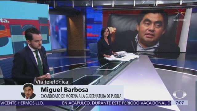 Barbosa afirma que no construye escenario político con tragedia en Puebla