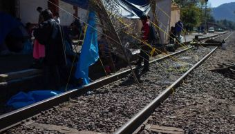 Foto: Trabajadores de la CNTE, bloquean vías del tren, el 28 de enero 2019.