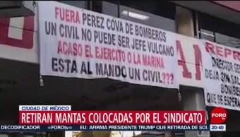 Bomberos Retiran Mantas Colocadas Estaciones Sindicato
