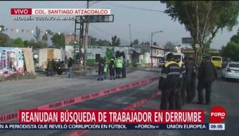 Buscan cuerpo de trabajador atrapado por derrumbe en CDMX