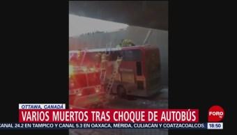 Choque de autobús deja tres muertos en Canadá