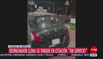 Cierran gasolinera por desabasto, pero llenan el tanque del encargado