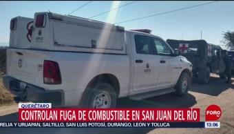 Foto: Controlan fuga de combustible en San Juan del Río, Querétaro