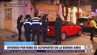 Detienen a hombre en la colonia Buenos Aires por robo de autopartes