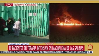 Diez personas en terapia intensiva en Magdalena de las Salinas tras explosión de ducto