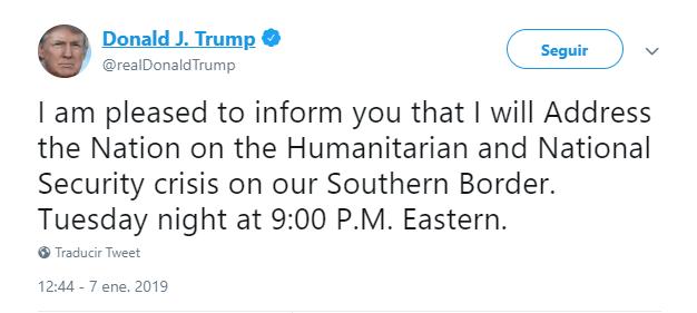 Donald Trump anuncia mensaje sobre migración. (@realDonaldTrump)
