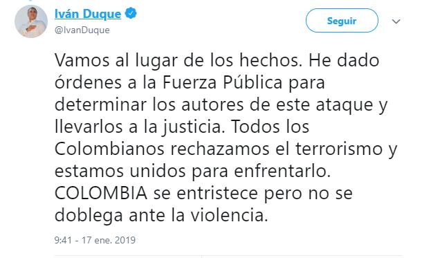Duque reitera su rechazo al terrorismo. (@IvanDuque)