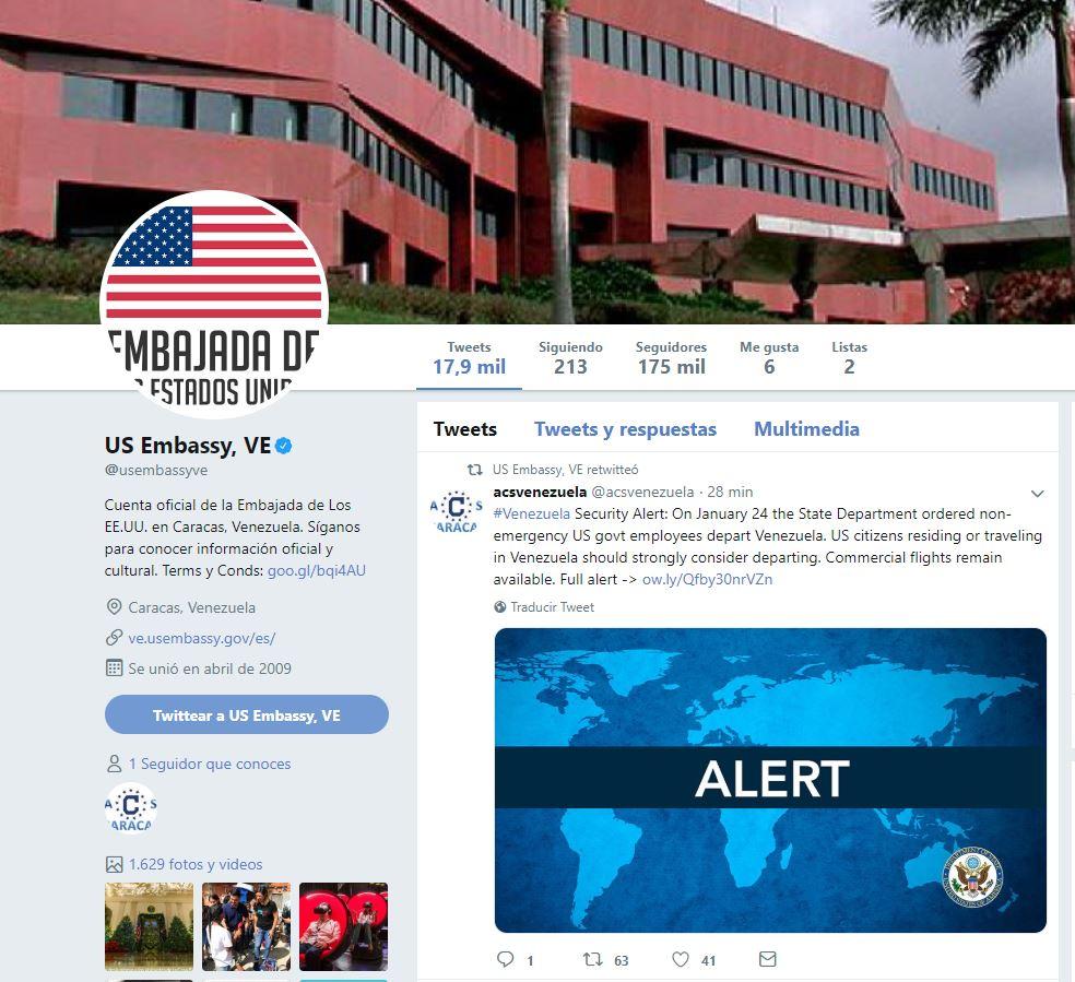 Foto: Imagen de la cuenta de Twitter de la embajada de Estados Unidos en Venezuela, 25 enero 2019