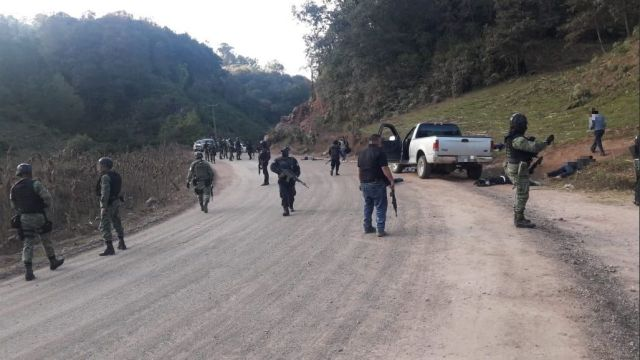 Foto: Enfrentamiento en Chilapa, Guerrero, ocurrido el 27 de enero 2019. (Twitter @RAlvarezHeredia)