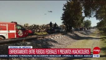 Enfrentamiento entre fuerzas federales y huachicoleros, en Edomex