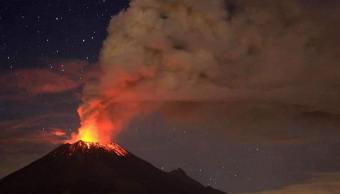 Foto: Volcán Popocatépetl, explosión registrada el 22 de enero 2019