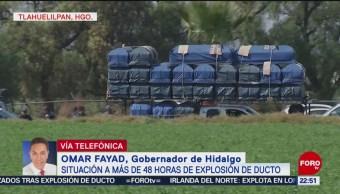 Gobernador de Hidalgo pide solidaridad con víctimas de explosión