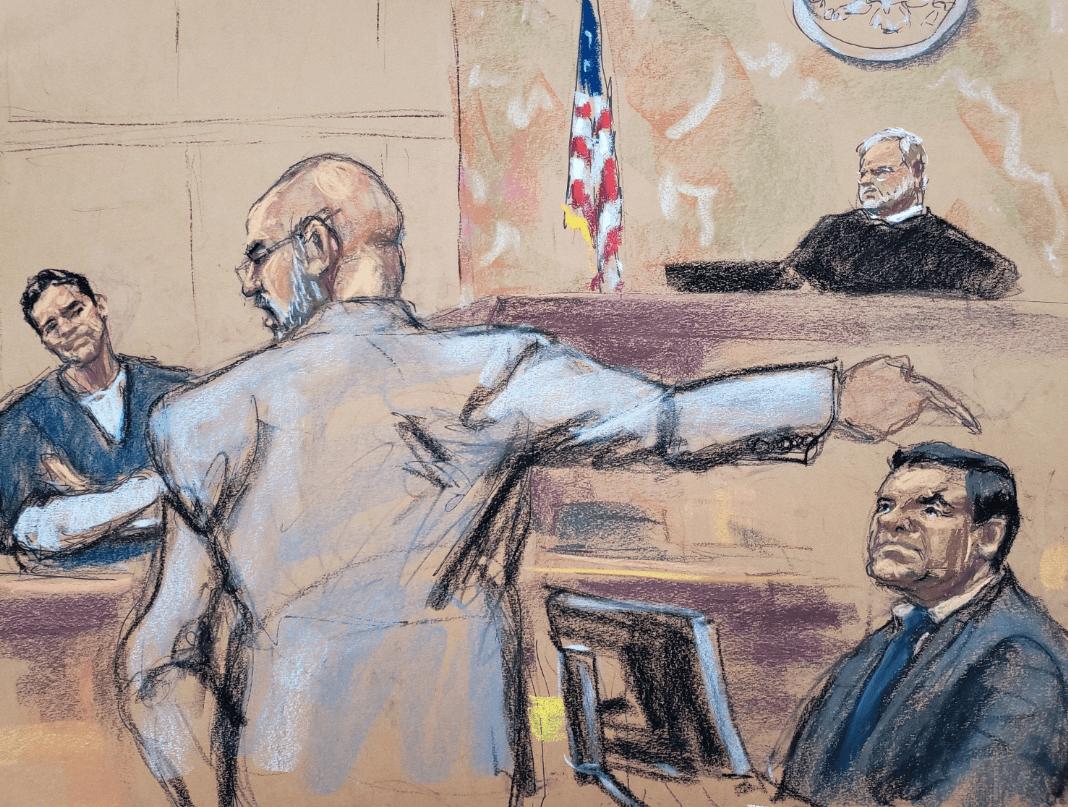 Gráfico del juicio contra 'El Chapo' Guzmán en NY. (EFE, archivo)
