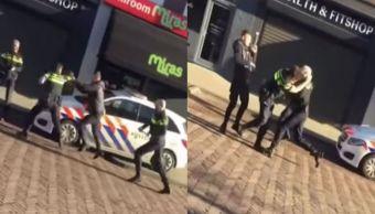 Video Hombre pelea policías envía hospital