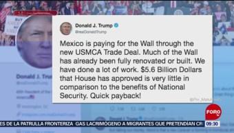 Insiste Trump que México ya está pagando el muro fronterizo