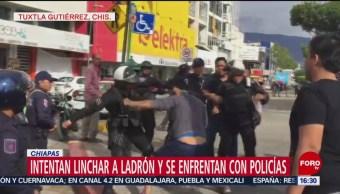 Intentan linchar a ladrón y se enfrenta con policías en Chiapas