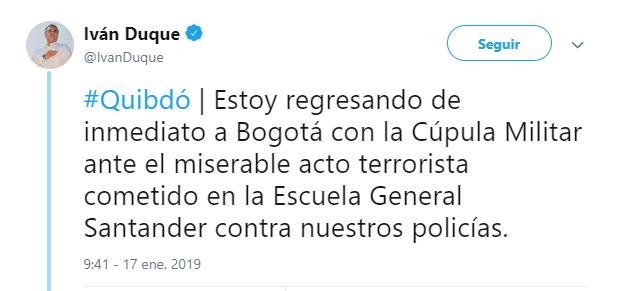 Iván Duque tuitea sobre explosión en Bogotá. (@IvanDuque)