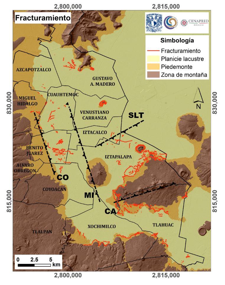 La UNAM publicó en 2018 un mapa de fracturas en el suelo del Valle de México, el cual puede ser consultado en DGCS UNAM