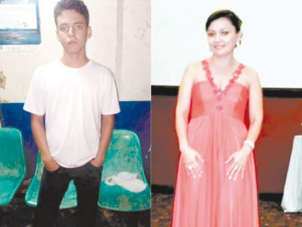 Larry (izquierda) de 21 años, es estudiante de Ingeniería en San Pedro Sula; apuñaló a su madre (derecha) doce veces en un intento de homicidio (ElHeraldo Especial)