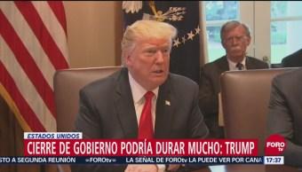 Parálisis Gubernamental Puede Durar Mucho, Dice Trump, Parálisis Gubernamental, Presidente, Donald Trump, Presupuesto Para El Muro