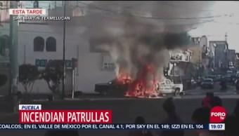 Incendian Patrullas Tras Accidente Vial En Texmelucan, Incendian Patrullas, Accidente Vial, Texmelucan, Pobladores De Texmelucan, Puebla, Un Niño Murió